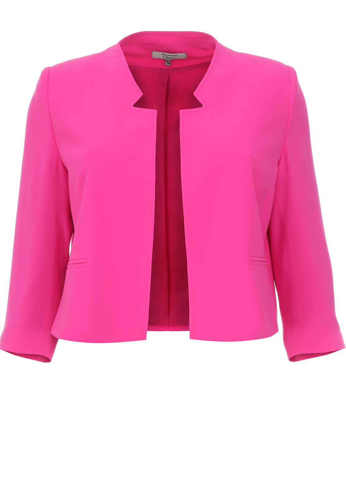 Denim Blazer For Women: Personal Choice Cropped Jacket, Hot Pink