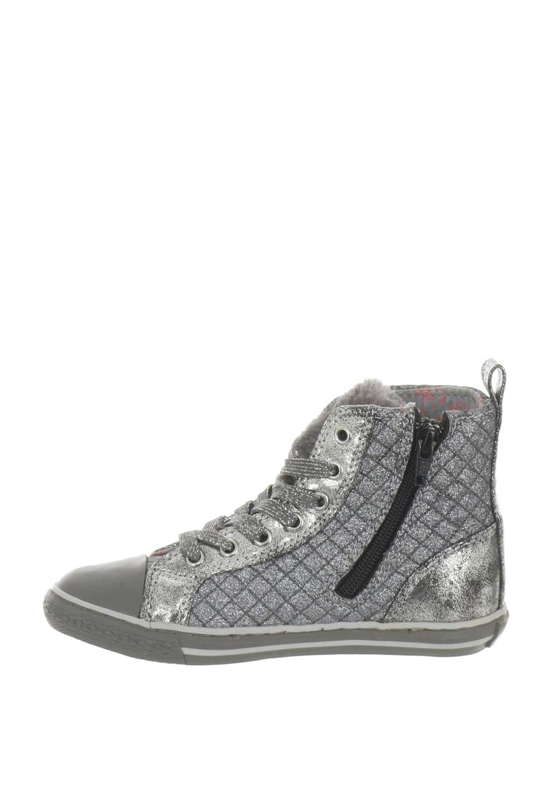 33c191d04803 Primigi Girls Glitter Quilted Hi Top Trainers, Silver | McElhinneys