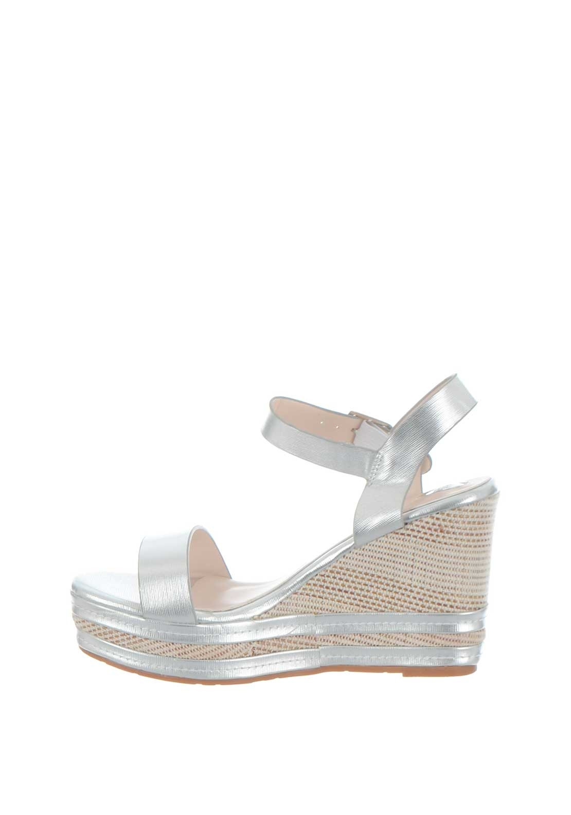 cf4f396a2eb Rant & Rave Angie Metallic Wedge Sandals, Silver