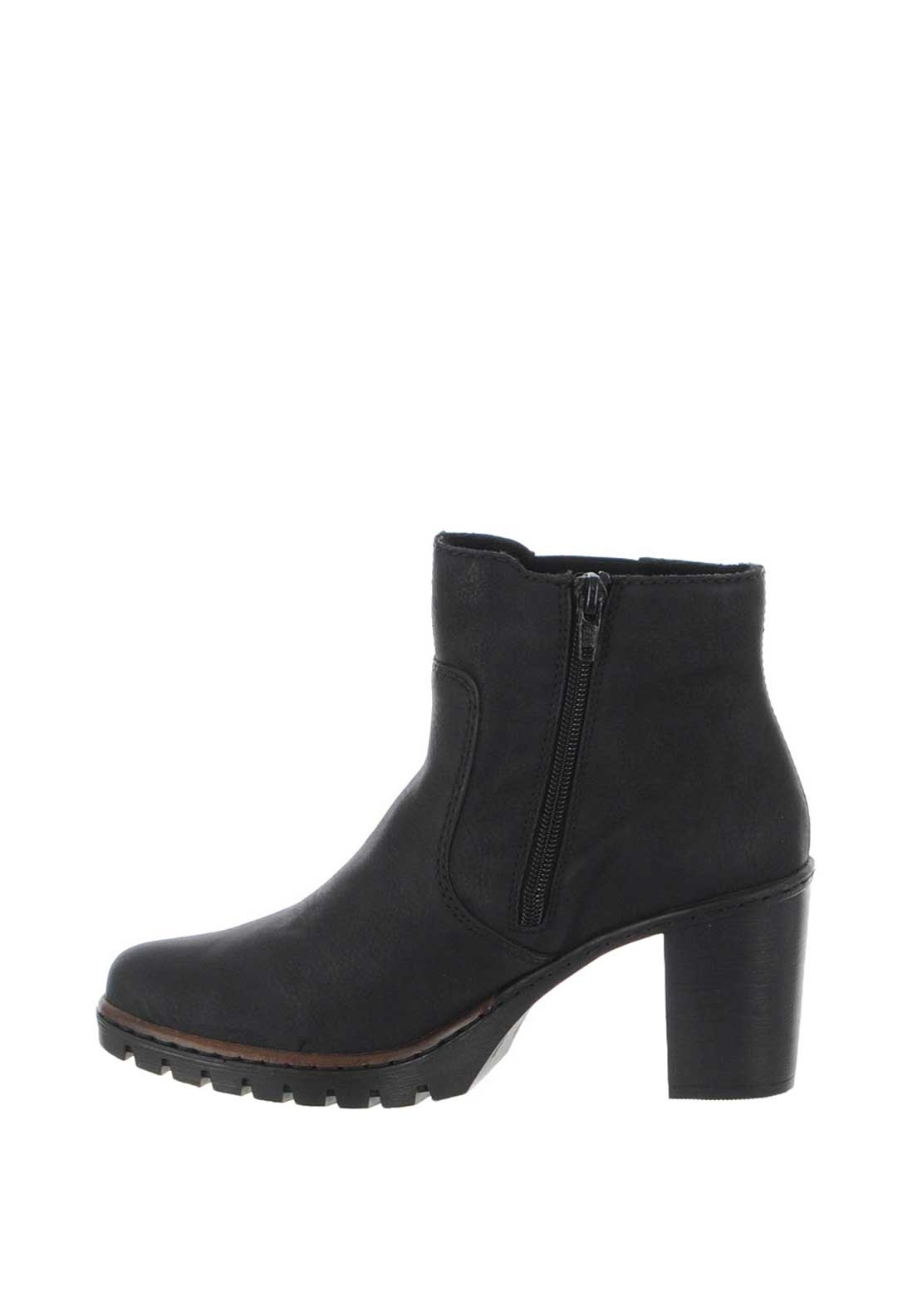 29643984986 Rieker Womens Flower Zip Heeled Boots, Black | McElhinneys