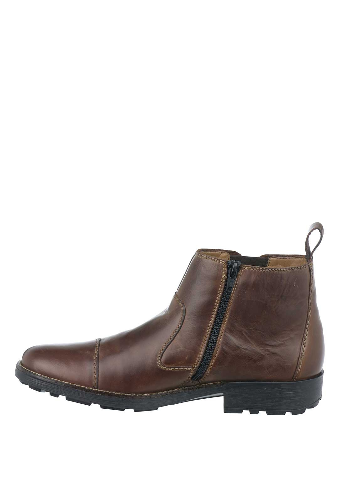 6e49ca8e81b Rieker Mens Leather Chelsea Zip-Up Ankle Boot, Brown