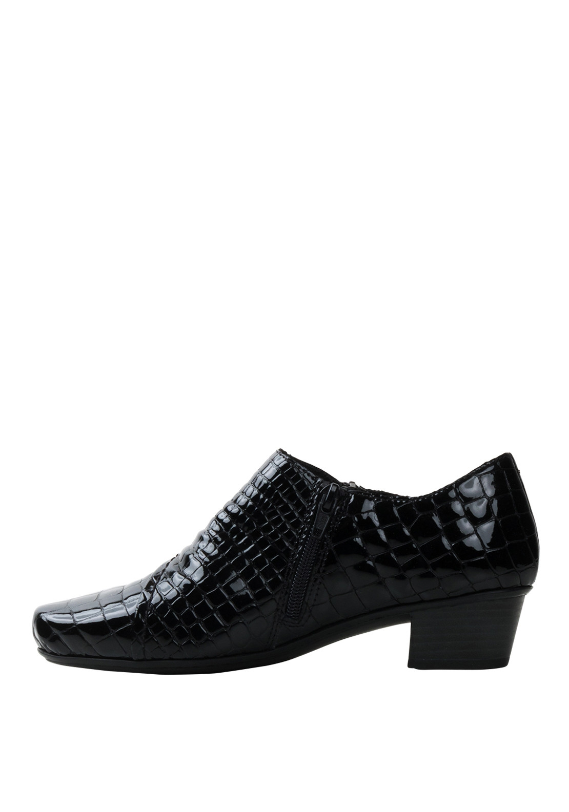 Rieker Womens Croc Print Leather Shoes, Black