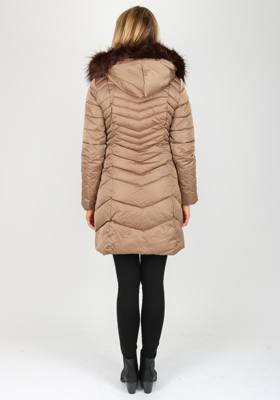 Rino Amp Pelle Selly Chevron Quilted Coat Brown Mcelhinneys