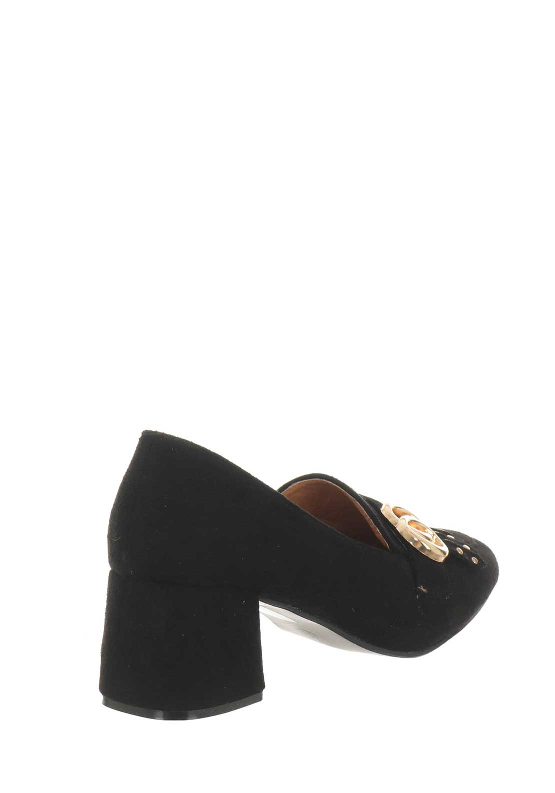 d951d43242 Boutique Fringed Block Heel Loafers, Black | McElhinneys