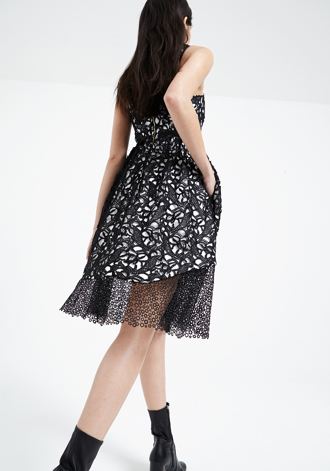 Three Floor Shard Interest Crochet Fit And Flare Dress