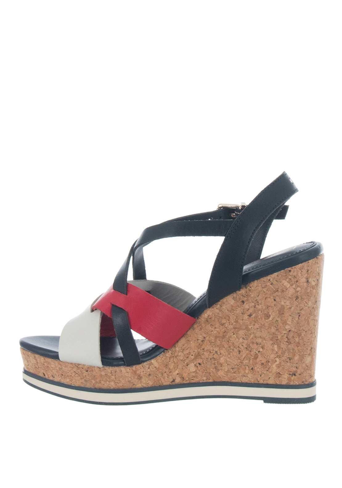 26e2903670c Tommy Hilfiger Womens Contrast Strap Wedge Sandals, Navy & Red