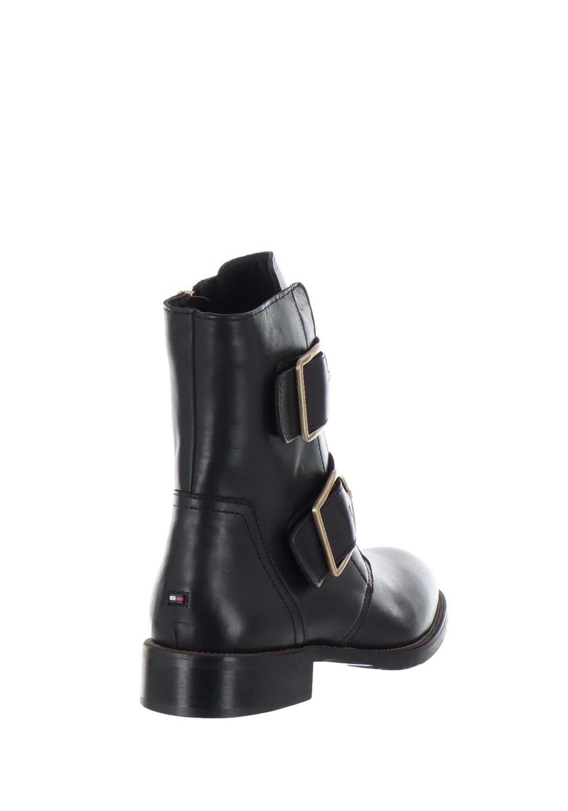 637f8d0bb57cc Tommy Hilfiger Womens Oversized Buckle Leather Boots, Black. 30% OFF