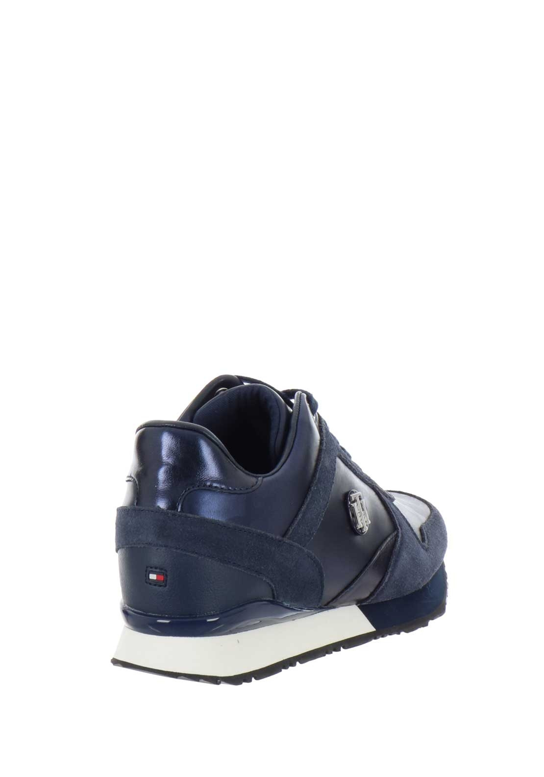 534a3ceb19539 Tommy Hilfiger Womens Camo Wedged Trainers, Navy | McElhinneys