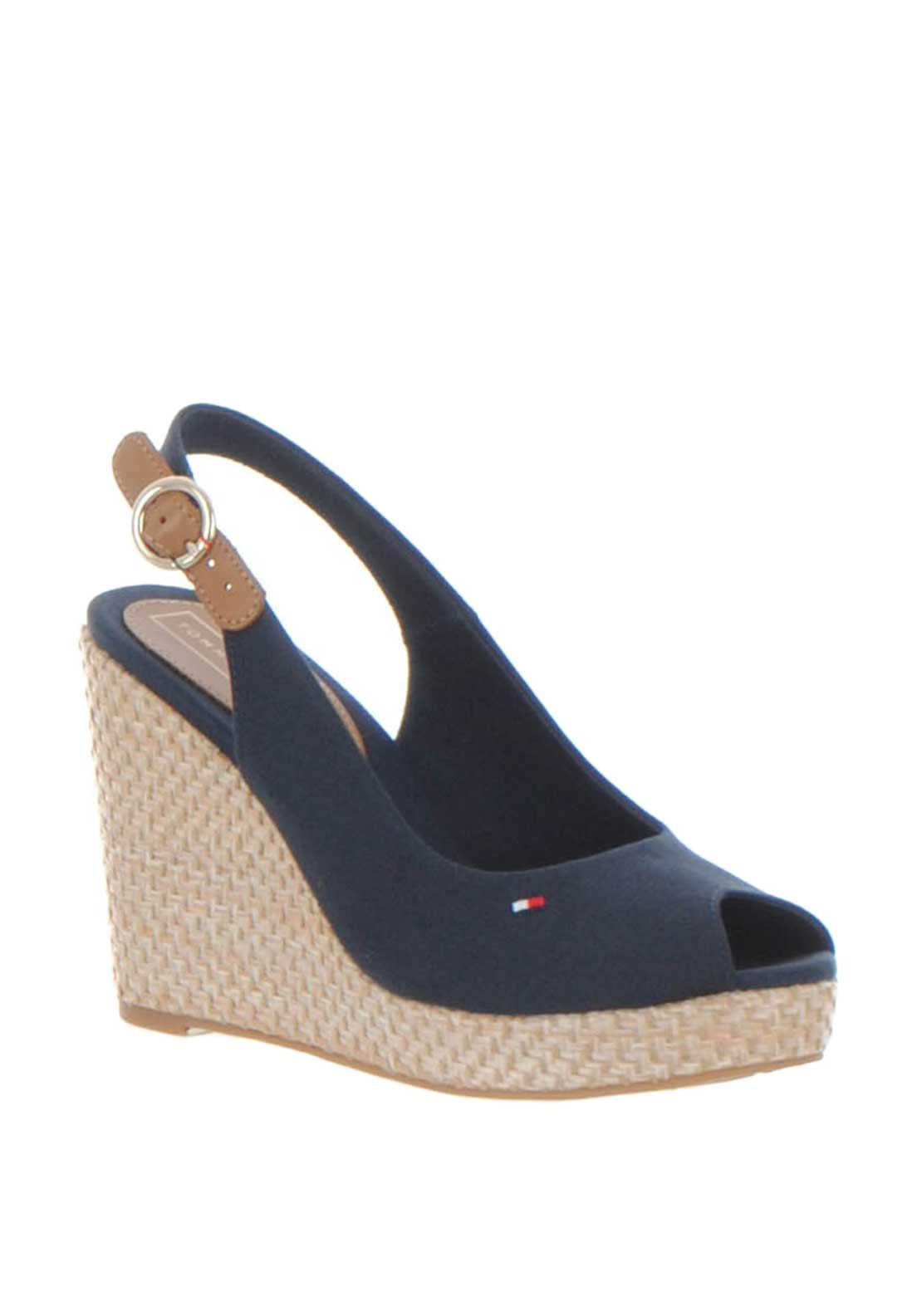 Tommy Hilfiger Womens Slingback High Wedge Sandals Navy