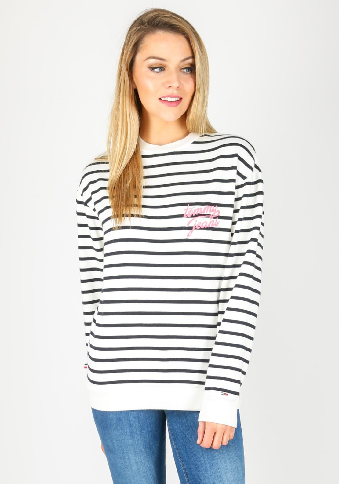 7f31033d7 Tommy Jeans Womens Striped Sweatshirt