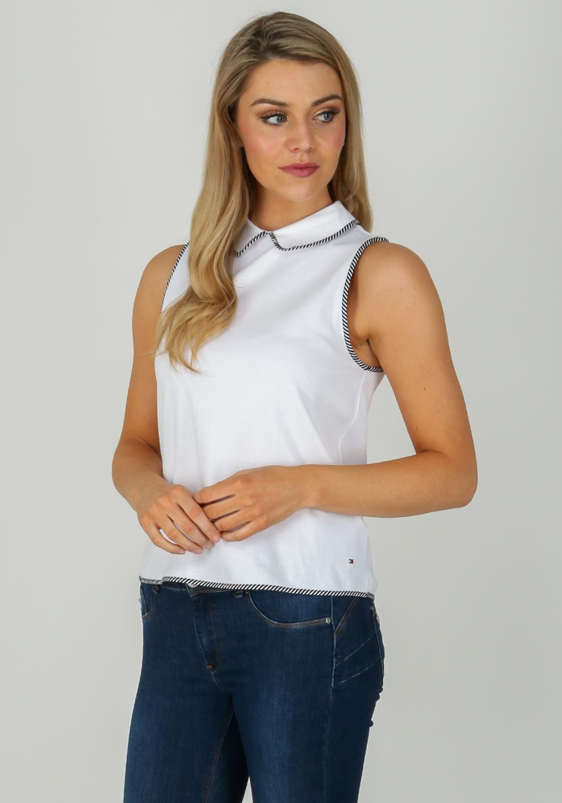 2dc14f63 Tommy Hilfiger Womens Sleeveless Polo Top, White | McElhinneys