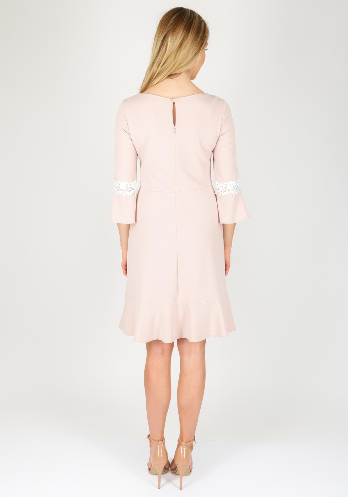 573aa305be98 Vera Mont Lace Trim Bell Sleeve Dress