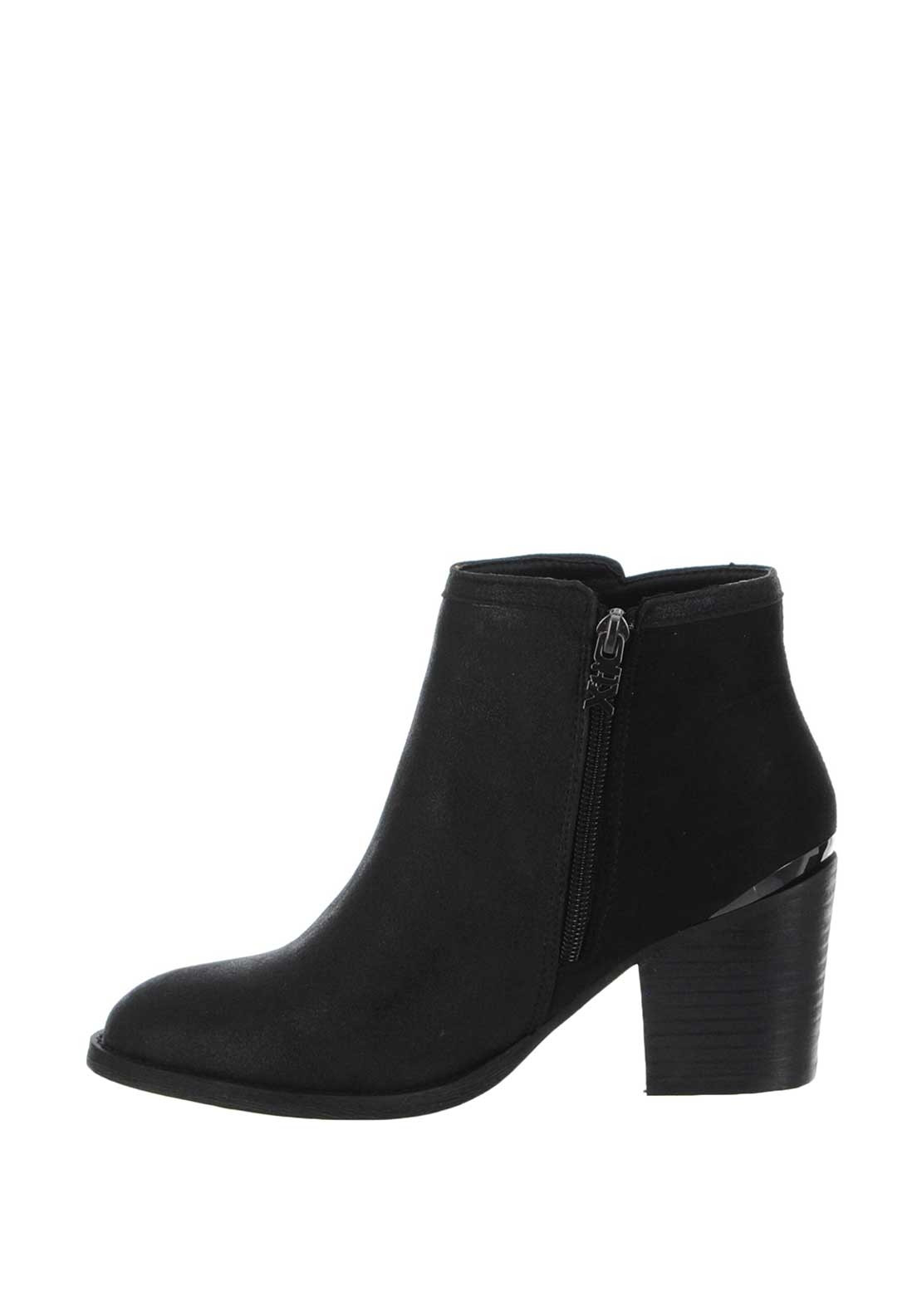 d096106c9cd0b Xti Womens Gem Block Heel Ankle Boots, Black | McElhinneys