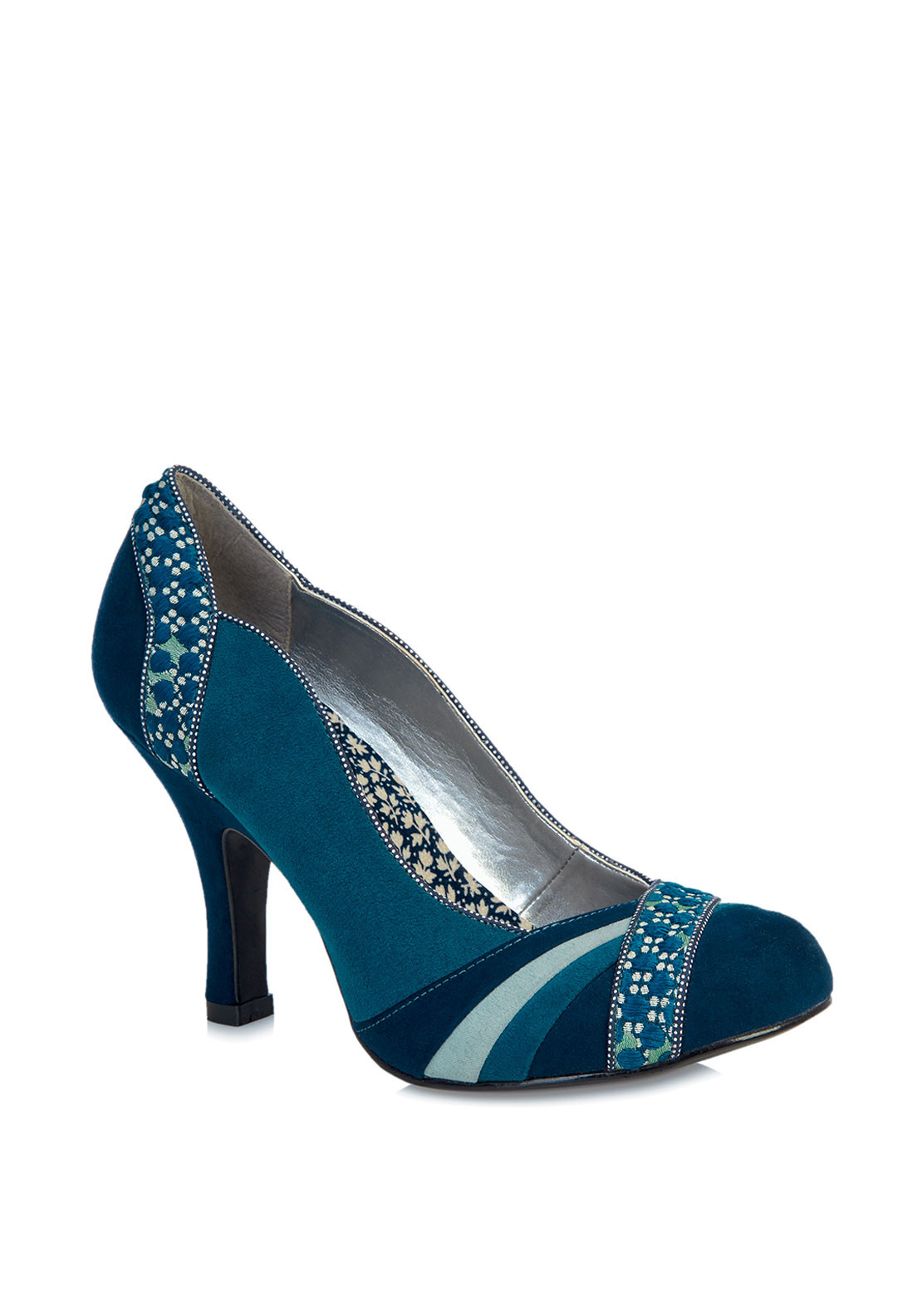 Ruby Shoo Heather Embroidered Heeled Shoes, Blue