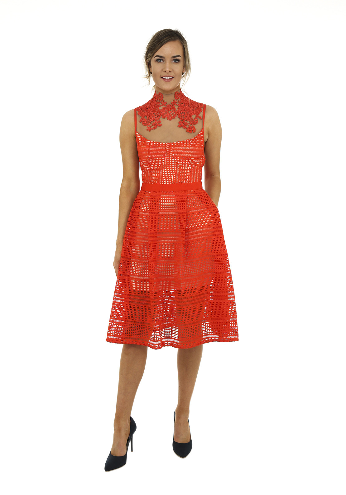 Three Floor Eastern Floral Neck Crochet Fit and Flare Dress, Orange