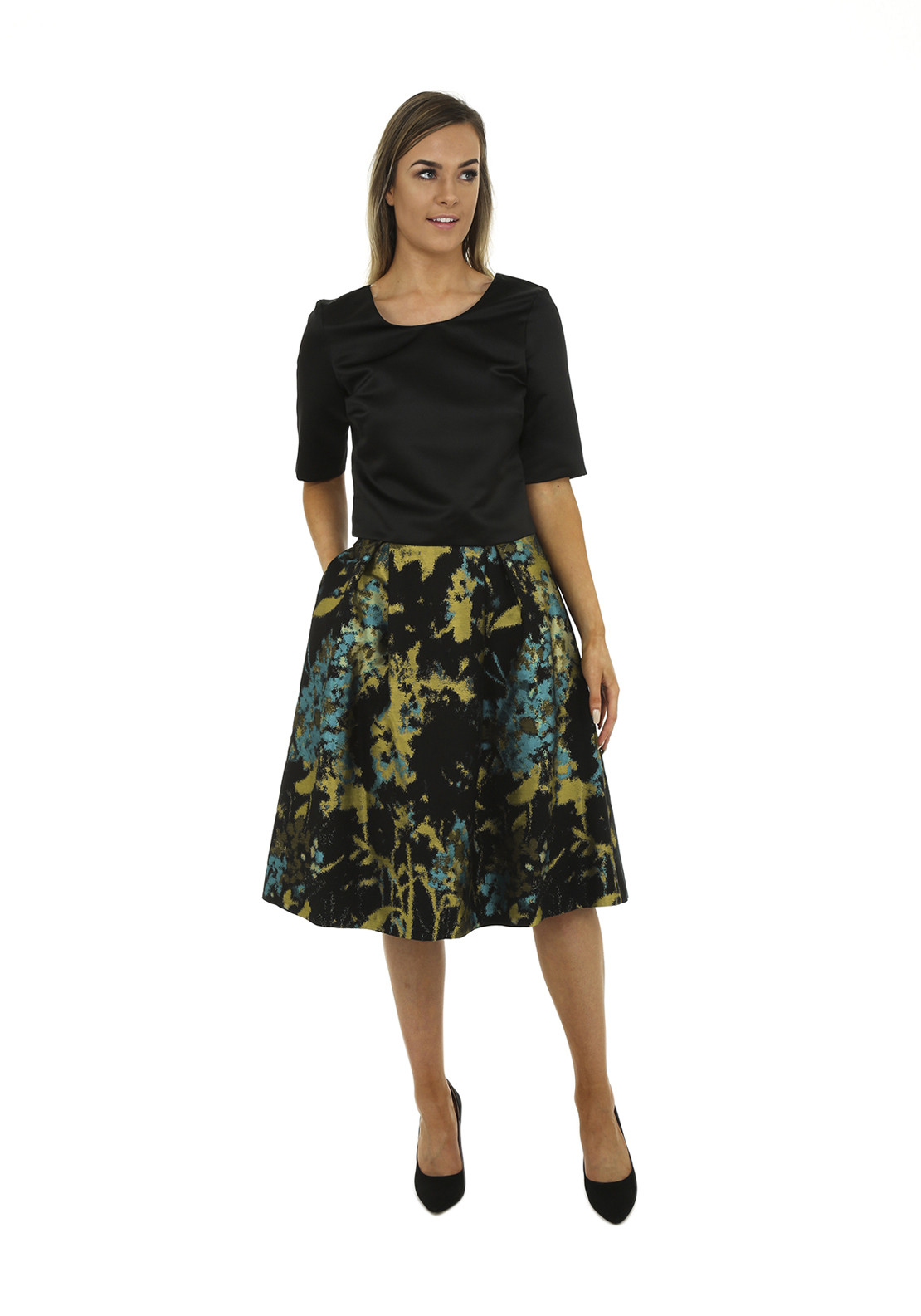 Kate Cooper Printed Flared Skirt, Green Multi