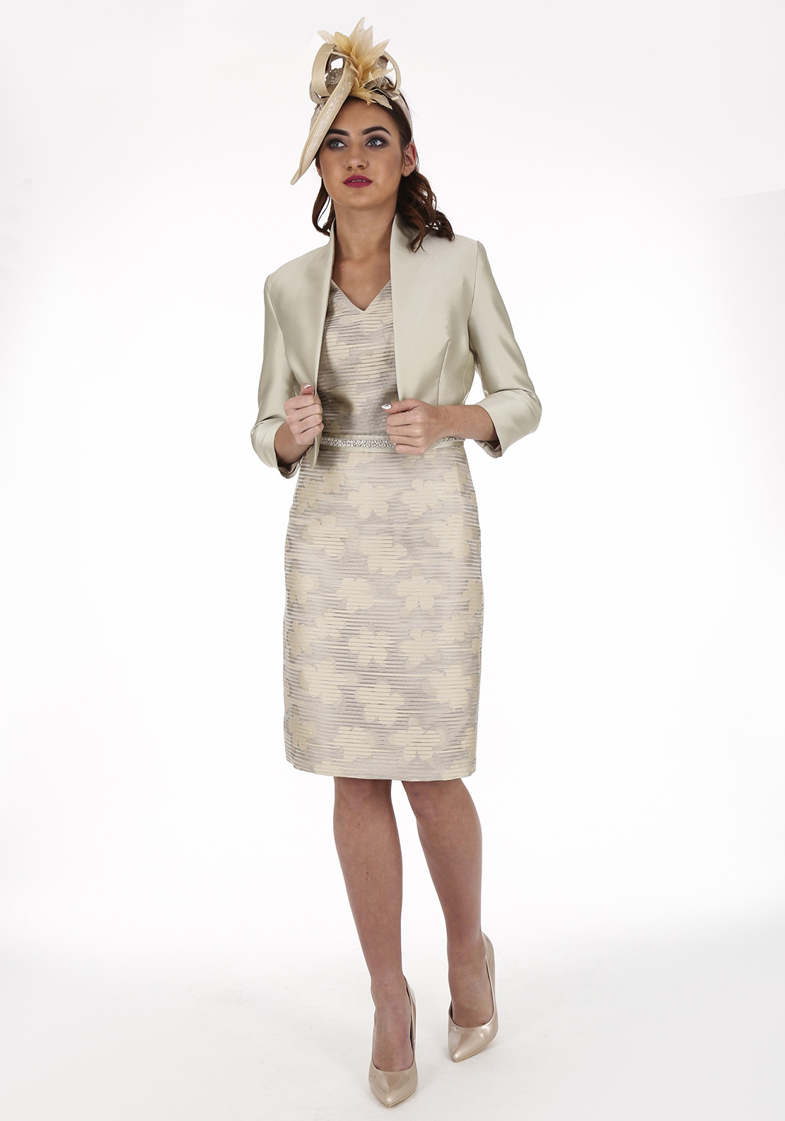 Linea Raffaelli Ribbed Dress and Jacket, Champagne