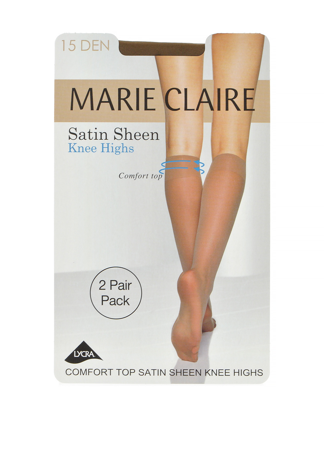 Marie Claire 15 Denier Satin Sheen Knee High Stockings Twin Pack Lyon, One Size