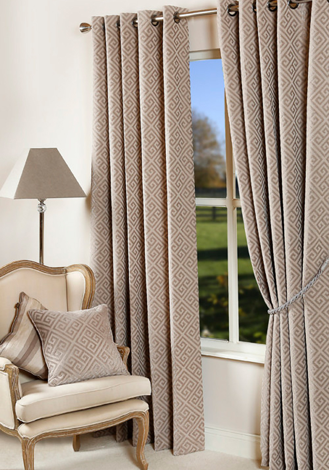 Scatterbox Greek Key Fully Lined Ready-Made curtains, 66 X 90in, Mink