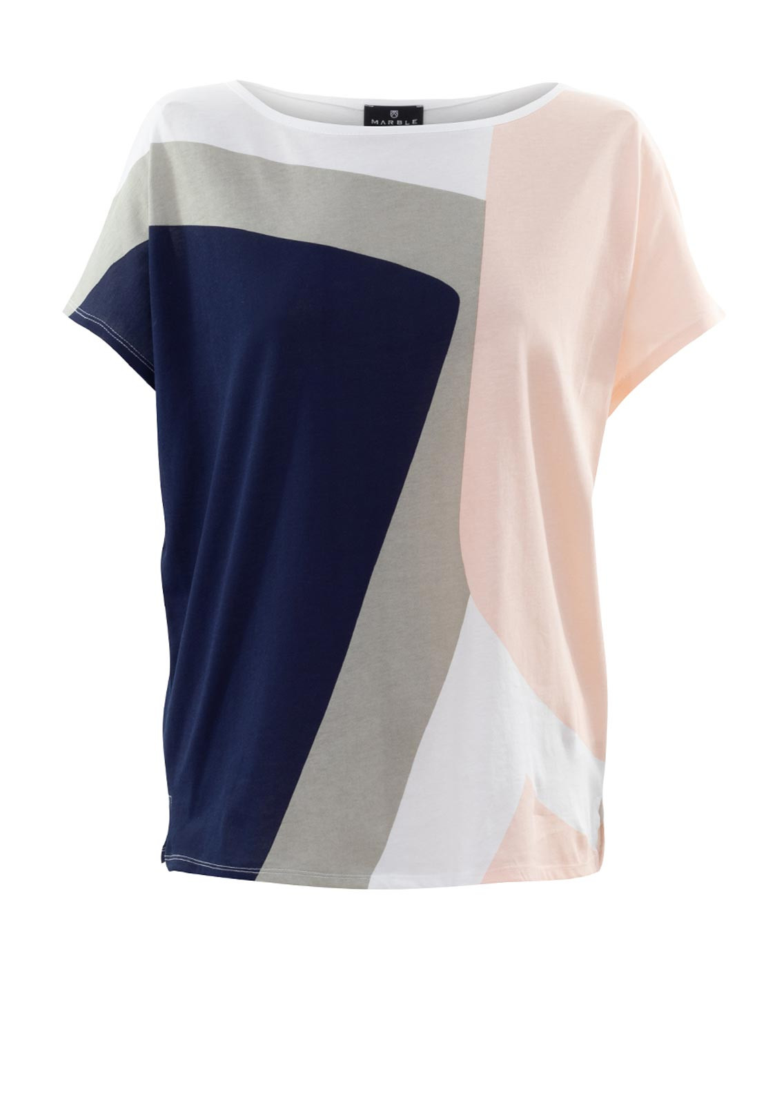 Marble Colour Block Print T-Shirt, Baby Pink Multi