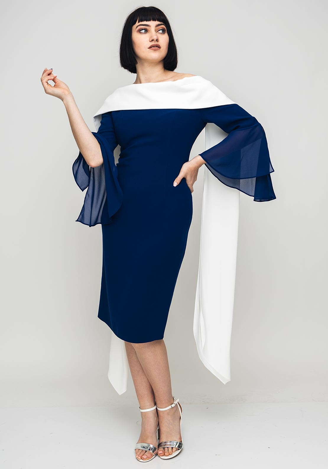 Red & Royal Chiffon Bell Sleeve Pencil Dress, Navy