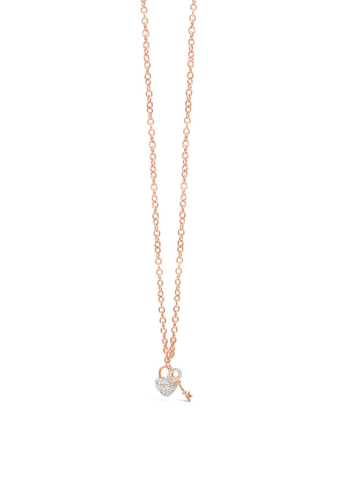Absolute Lock Key Crystal Necklace Rose Gold Mcelhinneys