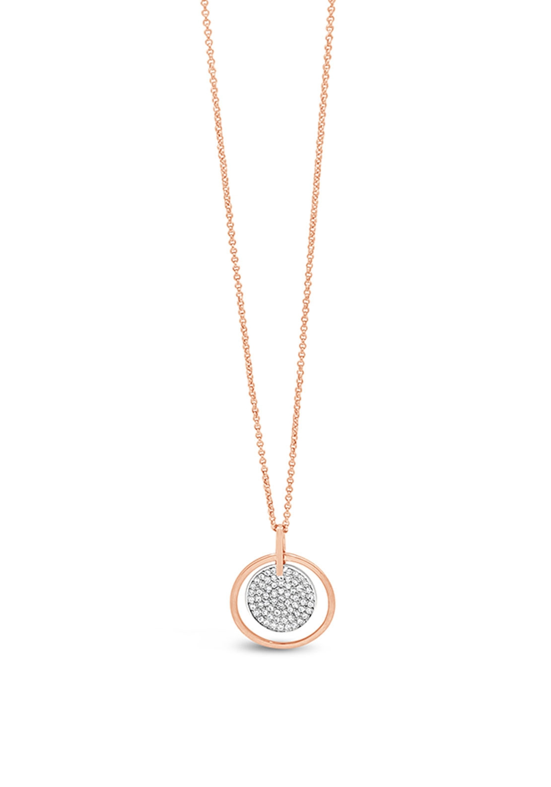 Absolute Rose Gold Necklace With Diamante Disc N2046mx Mcelhinneys