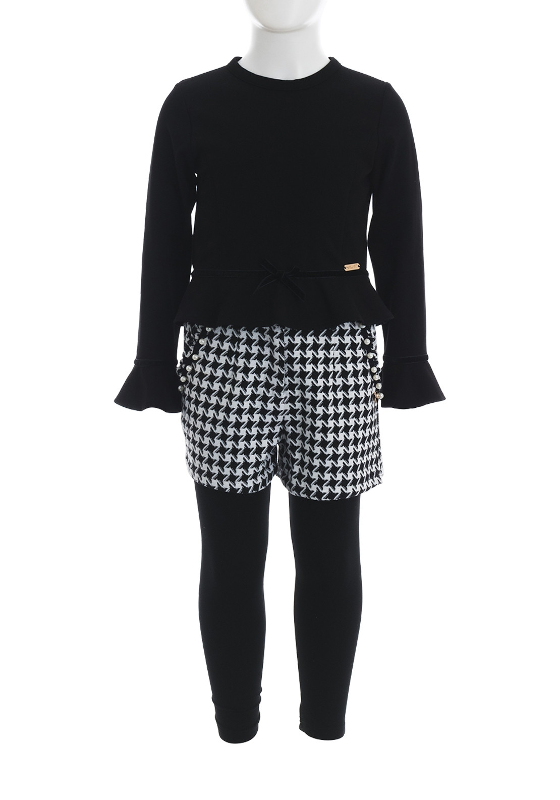 Alice Pi Top and Houndtooth Shorts and Leggings, Black