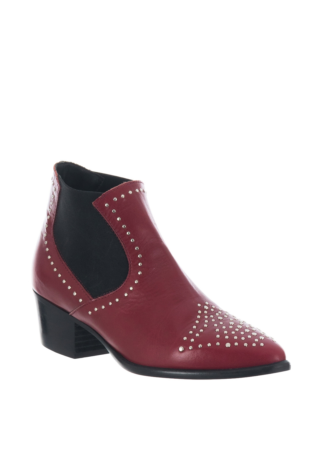 92afbf9bd95 Alpe Leather Stud Western Chelsea Boots, Red
