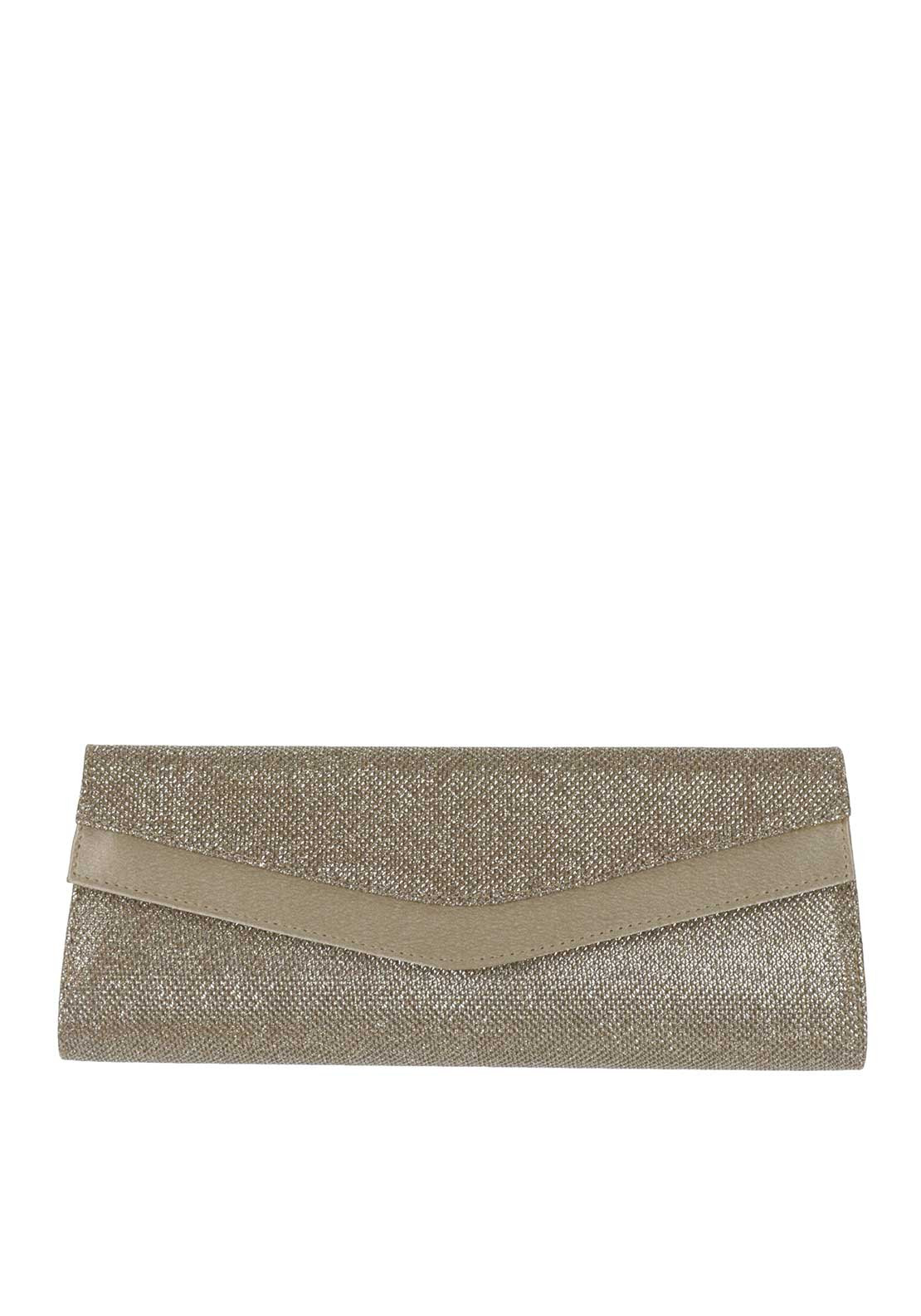 Ana Roman Shimmer Envelope Clutch Bag, Gold