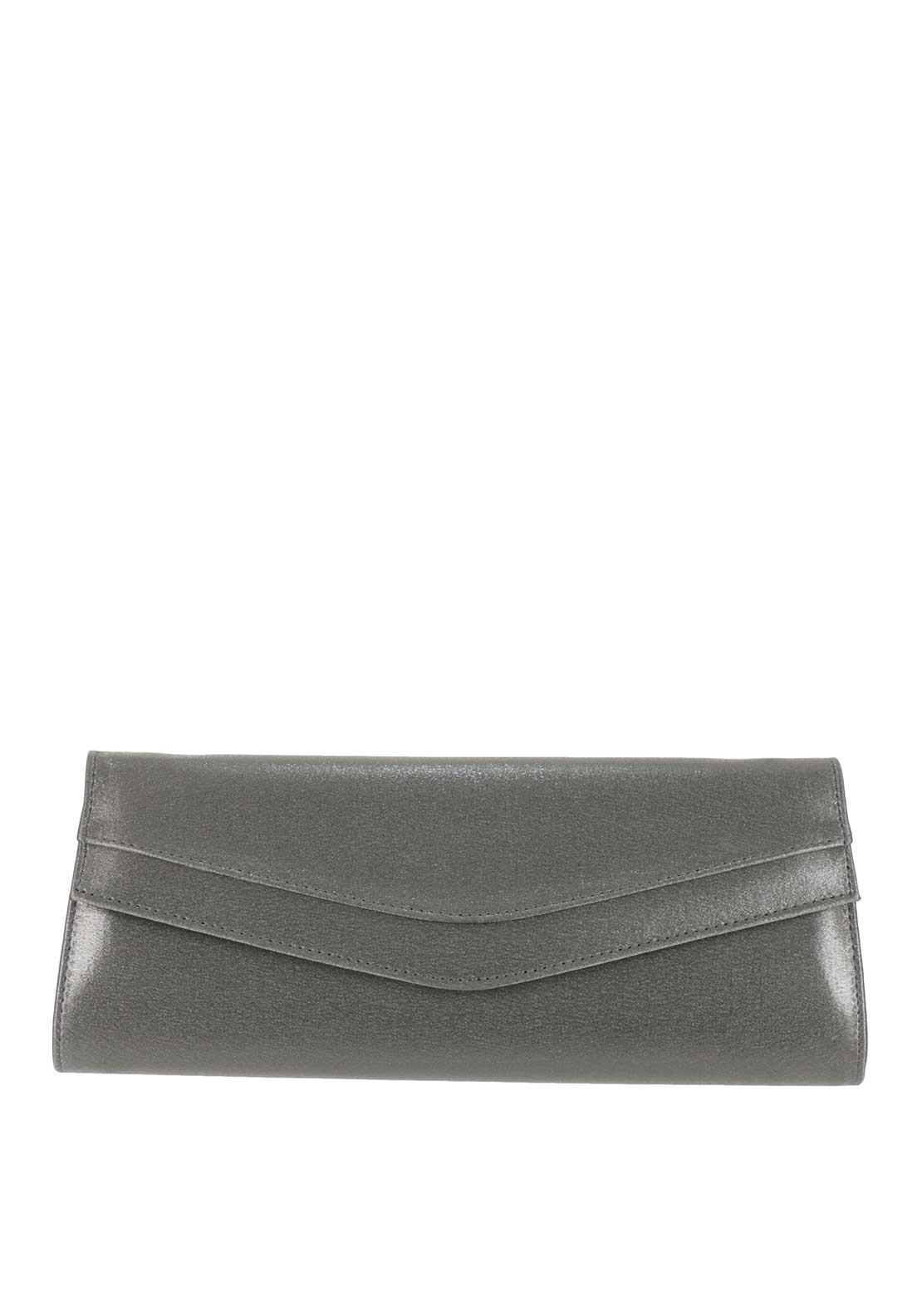 Ana Roman Satin Shimmer Envelope Clutch Bag, Pewter