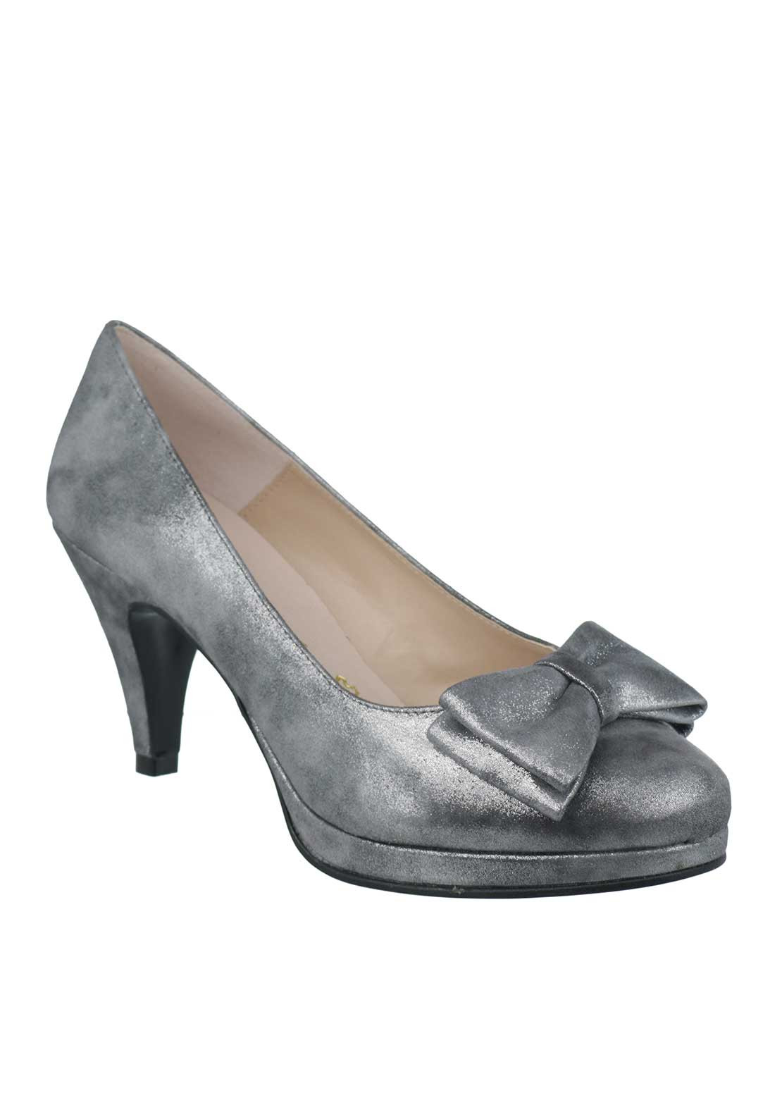 Ana Roman Suede Shimmer Bow Heeled Court Shoes, Grey