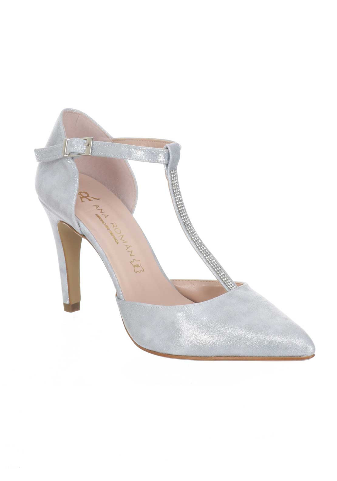 Ana Roman Shimmer T-Bar Heeled Court Shoes, Silver