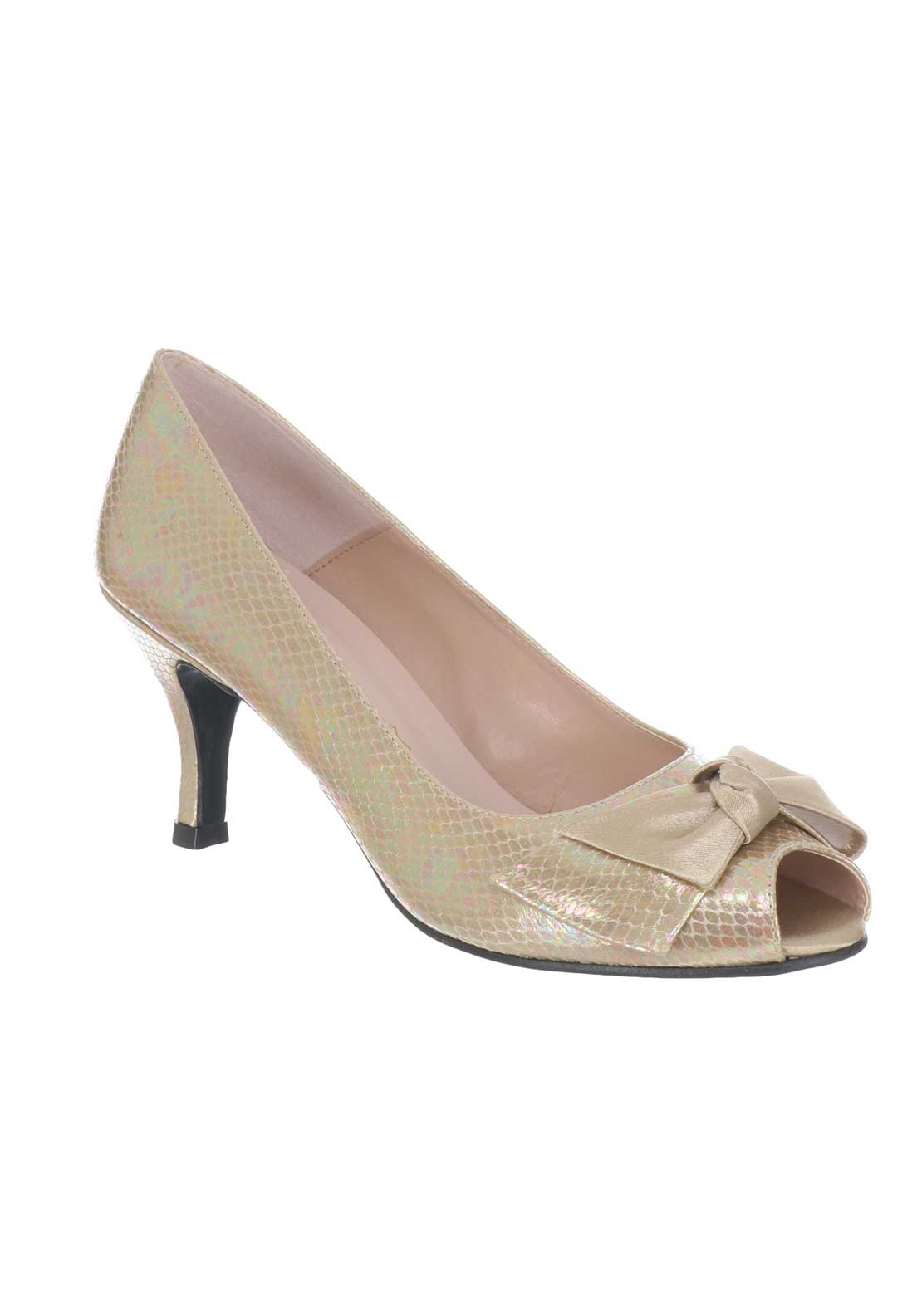 Ana Roman Iridescent Peep Toe Heeled Shoes, Gold