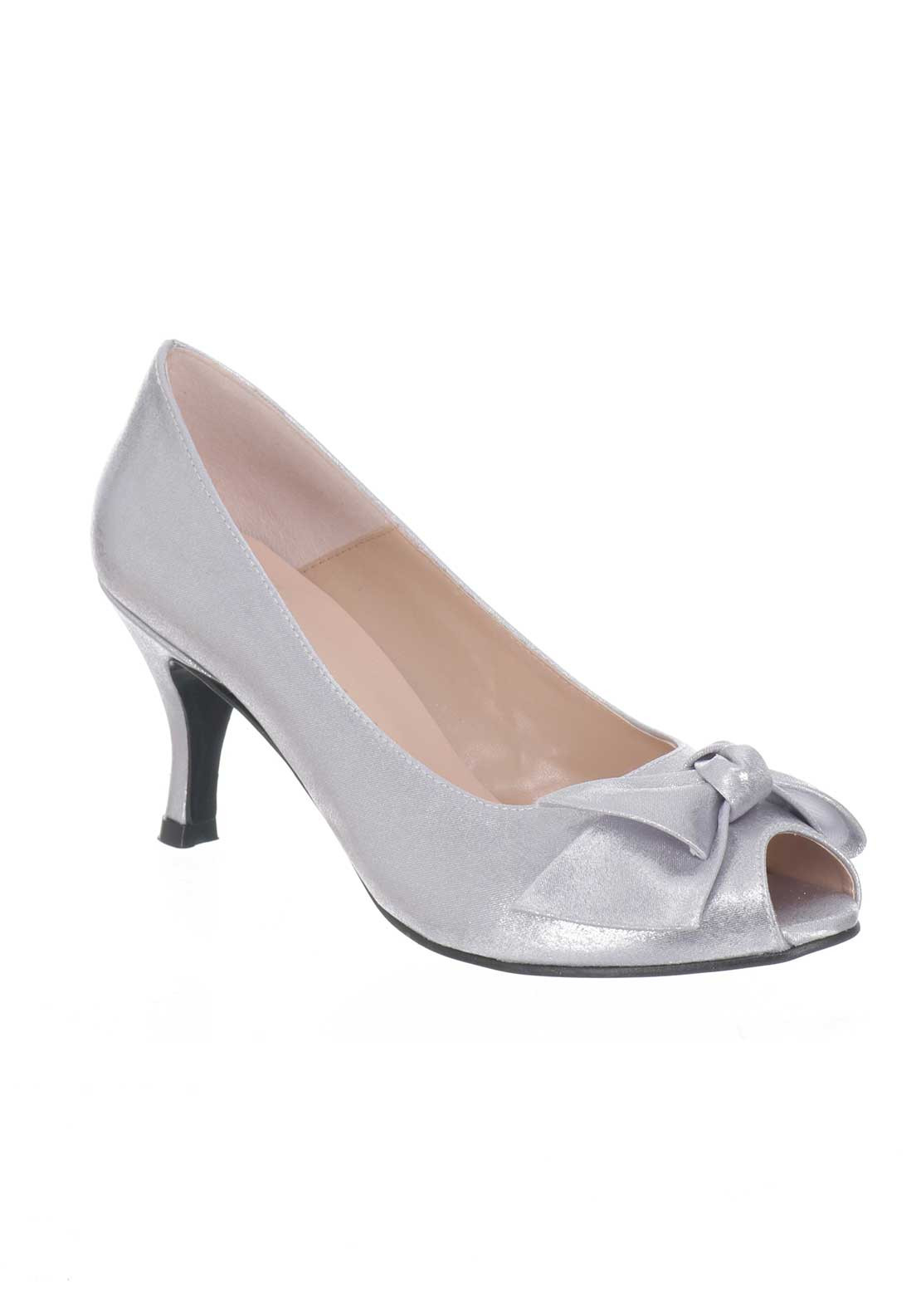 Ana Roman Satin Peep Toe Heeled Shoes, Silver