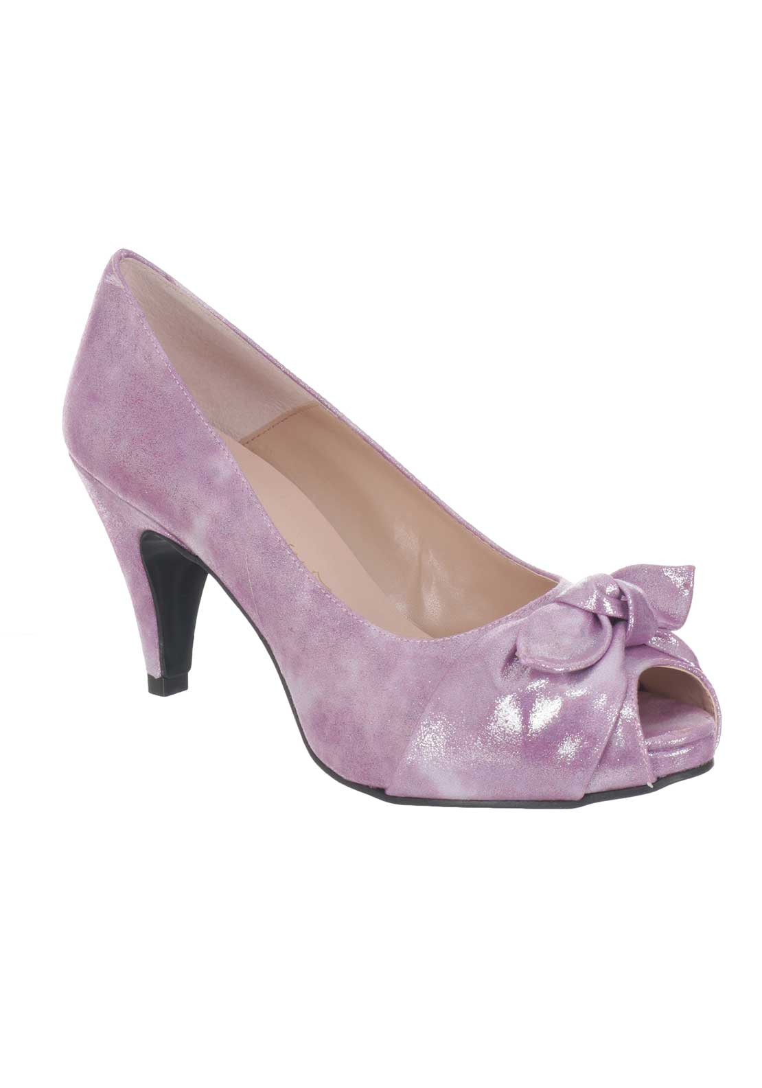 Ana Roman Shimmer Peep Toe Heeled Shoes, Purple
