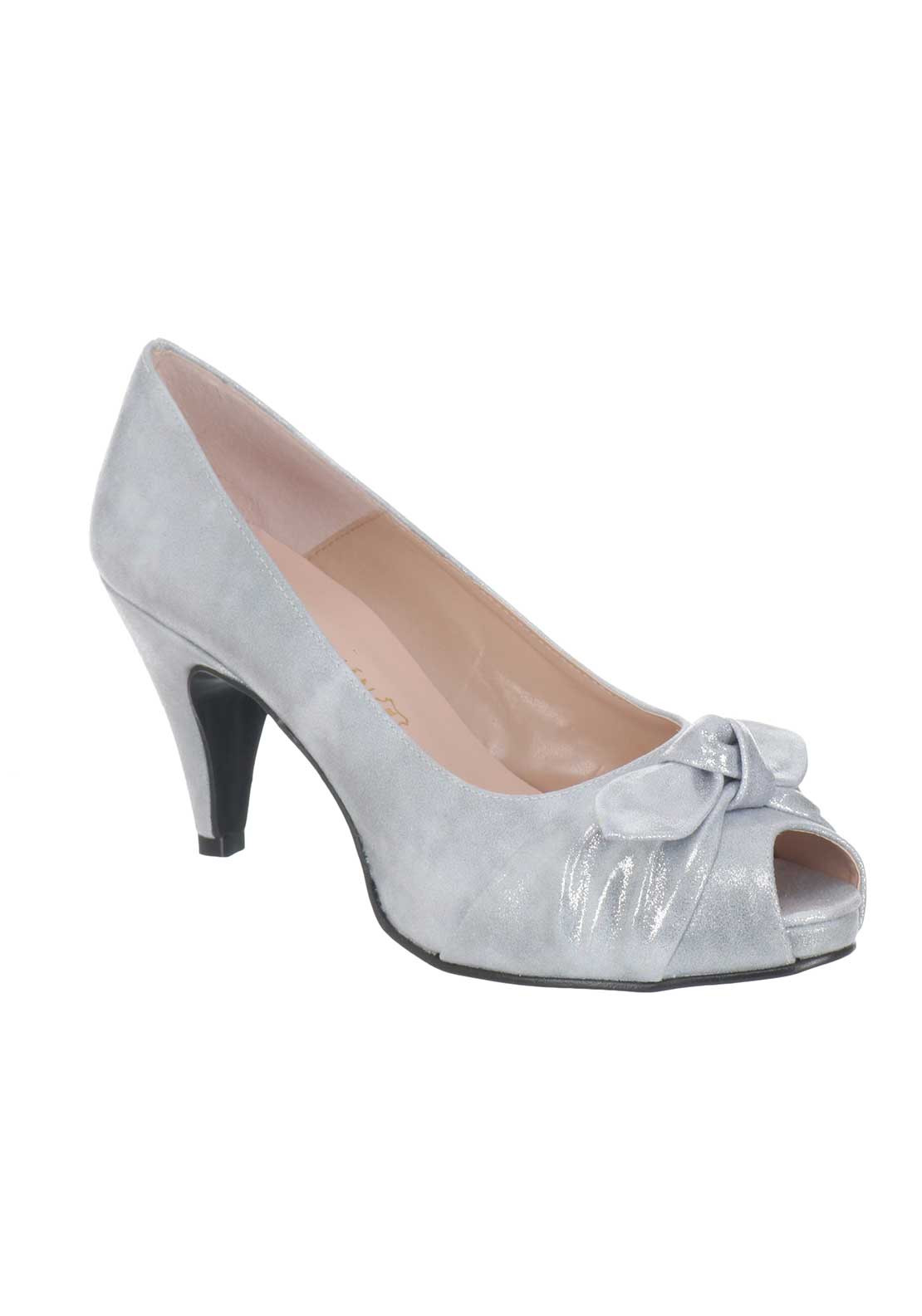 Silver Satin Peep Toe Fashion Dresses