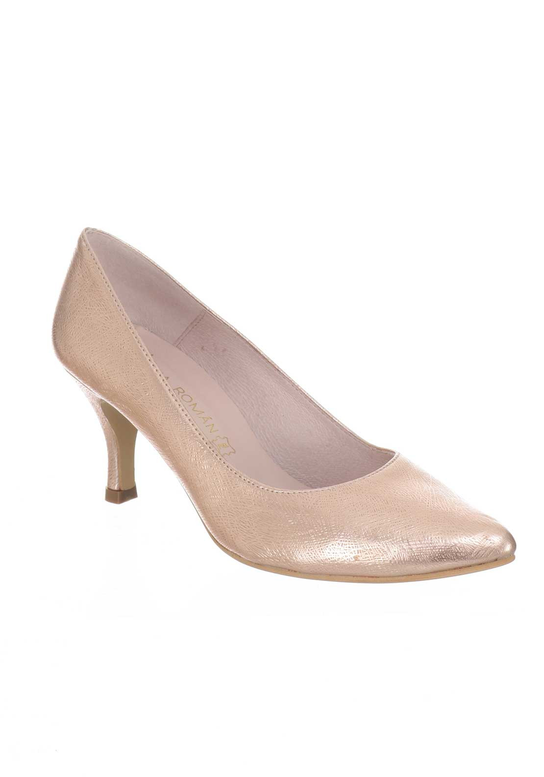Ana Roman Textured Mid Heel Court Shoes, Rose Gold