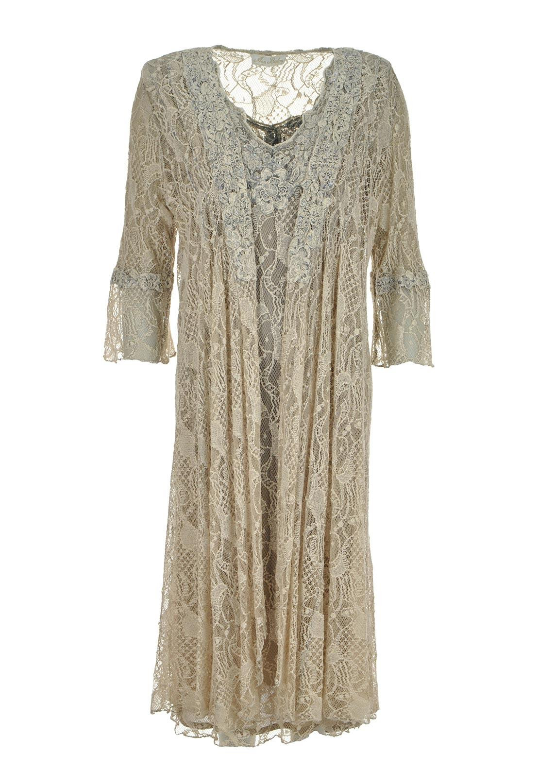 Ann Balon Giordana Lace Dress And Coat Two Piece Outfit Cappuccino - Large
