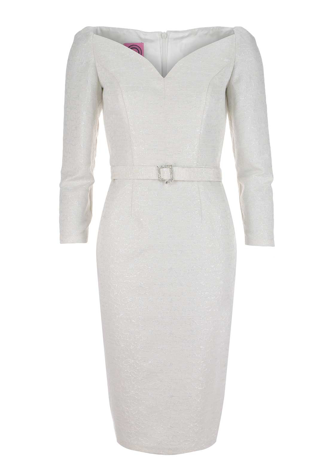 Anoola Textured Sweetheart Neck Dress, Ivory
