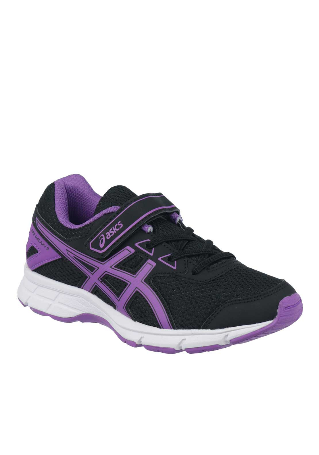 Asics Girls Pre-Galaxy 9 Velcro Runners, Black and Purple
