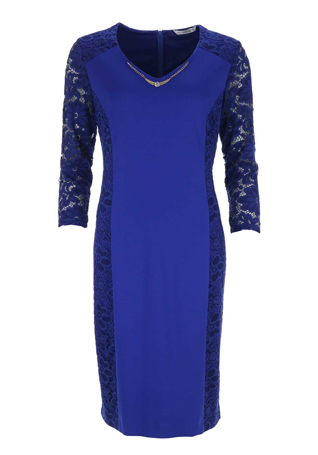 Via Veneto Lace Trim Dress, Royal Blue