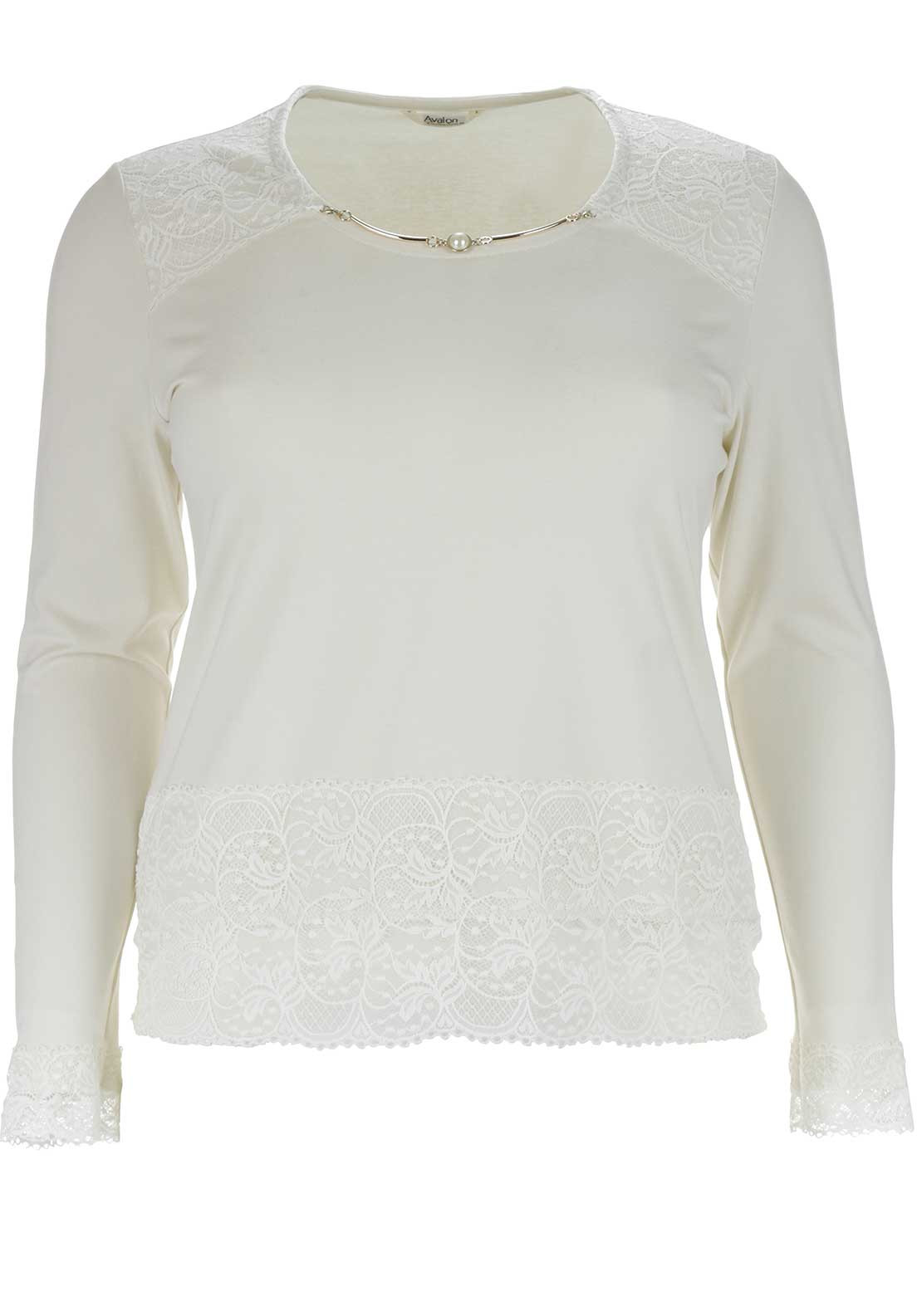 Avalon Lace Trim Long Sleeve Top, Cream