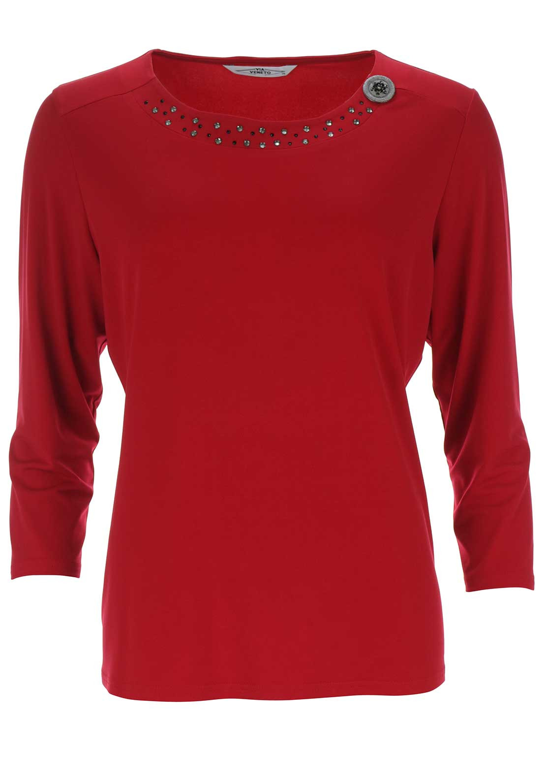 Via Veneto Diamante Trim Top, Red