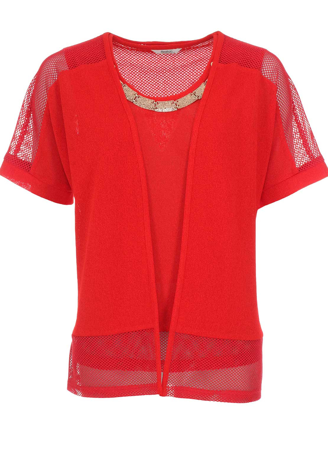 Avalon Necklace Trim Knit Twinset, Red