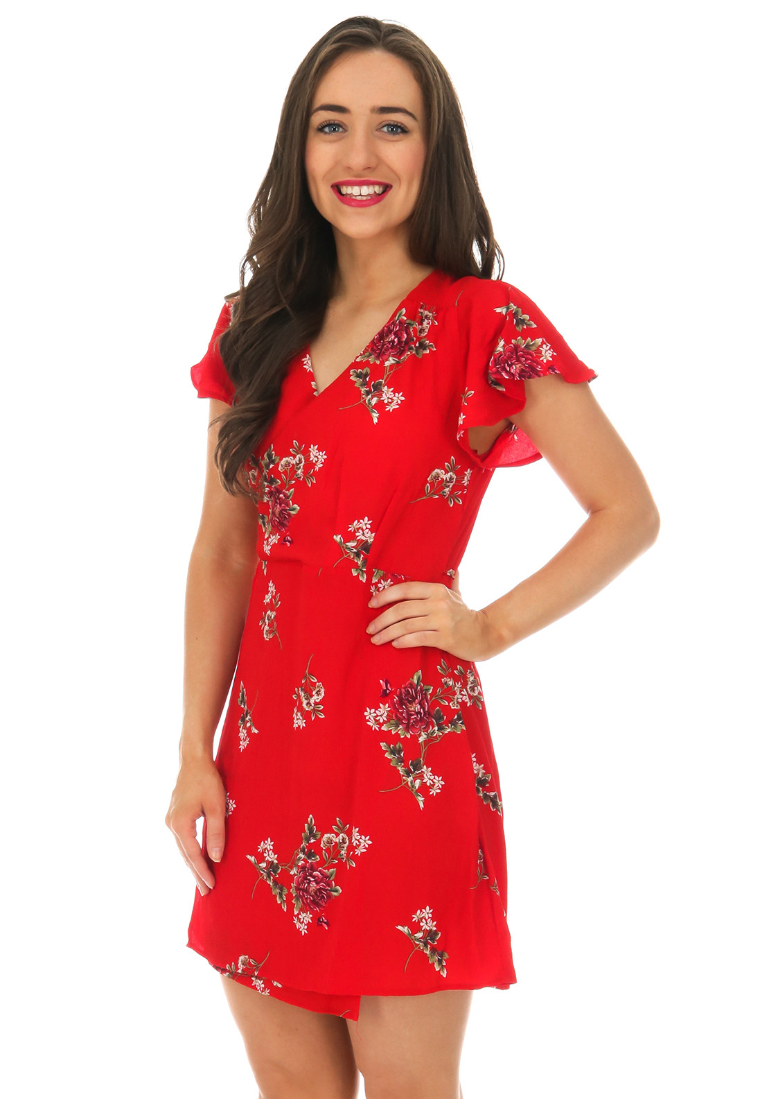 AX Paris Floral Print Wrap Dress, Red