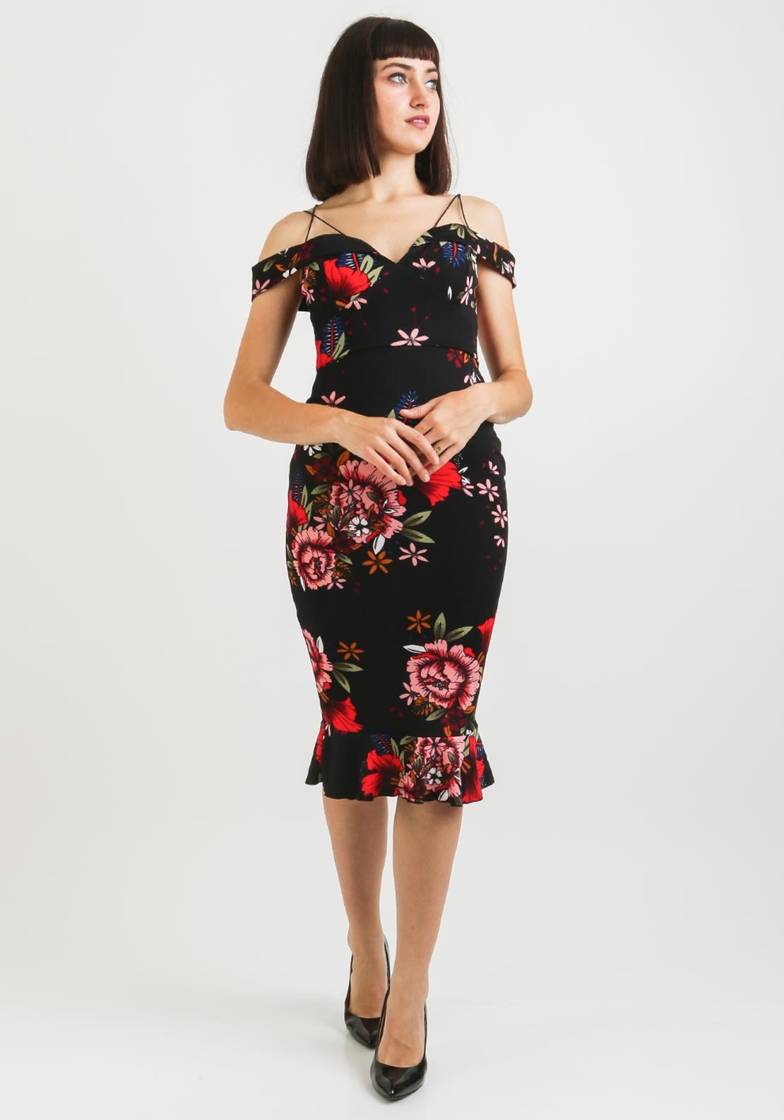 2b848bf1a3e49c AX Paris Off the Shoulder Floral Fishtail Dress, Black. Be the first to  review this product