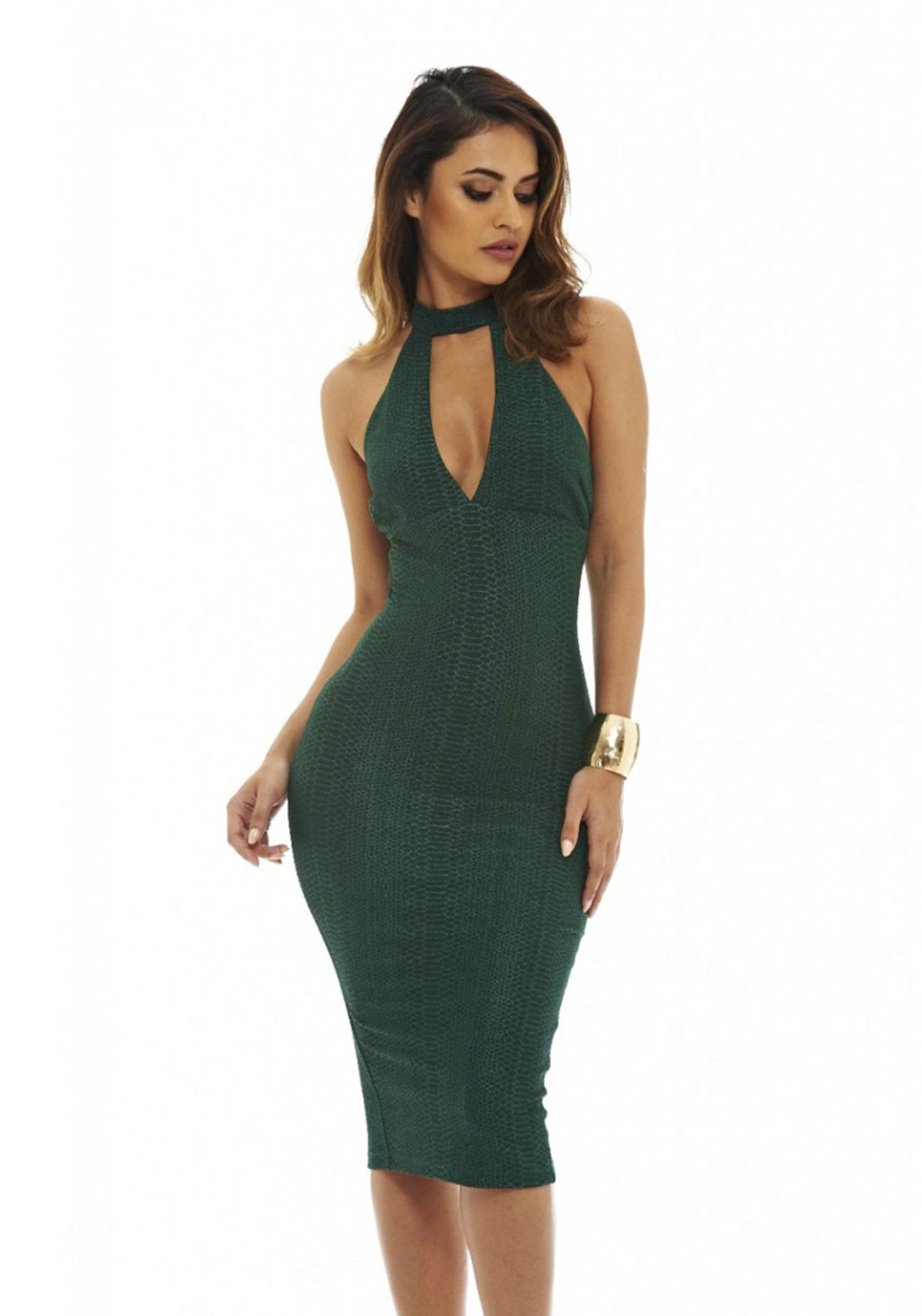 AX Paris Textured Cut Out Midi Dress, Green