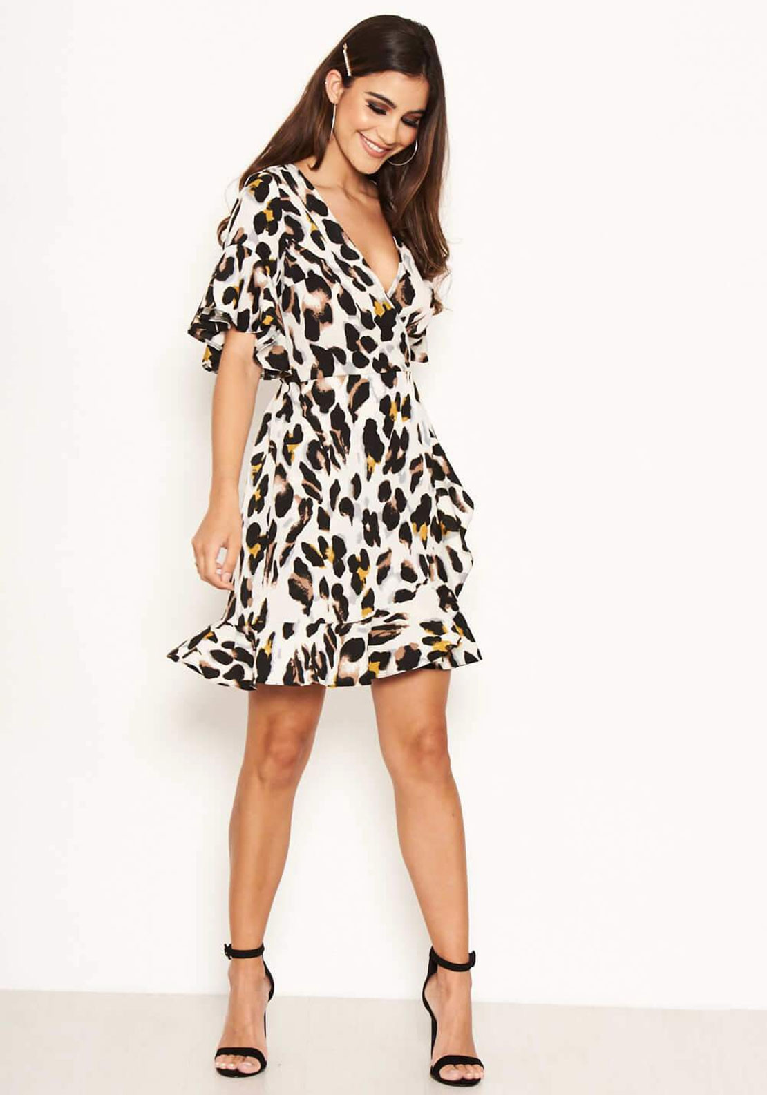 6679eed4df215 AX Paris Leopard Print Frill Wrap Dress, Cream. Be the first to review this  product