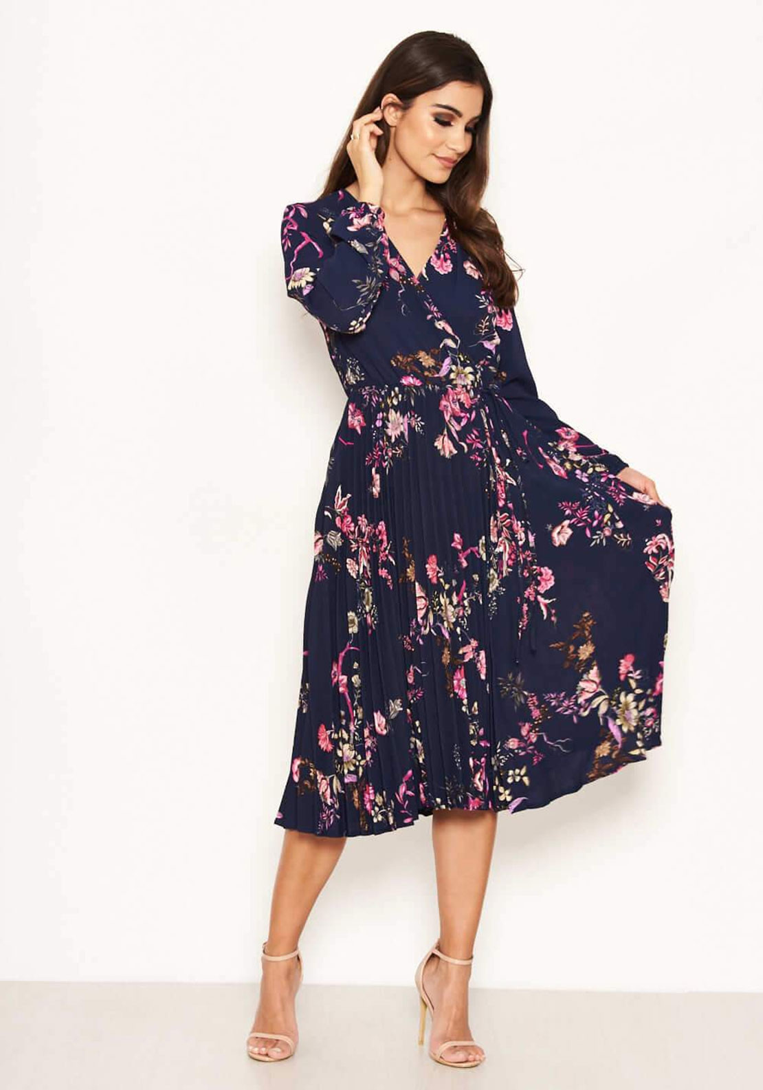 9e0ff0235b AX Paris Floral Pleated Midi Dress, Navy. Be the first to review this  product